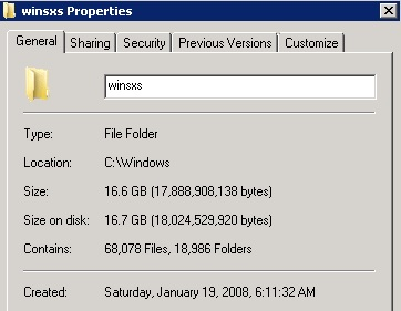 Reclaiming space from the winsxs folder to alleviate disk