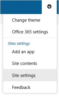 Site Settings Option