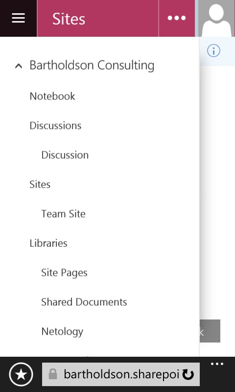New Experience Document Library Quick Launch