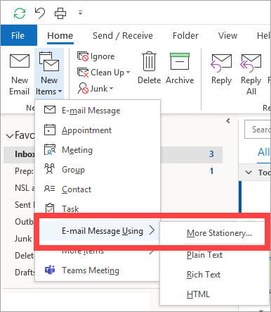 Outlook - Stationery Options