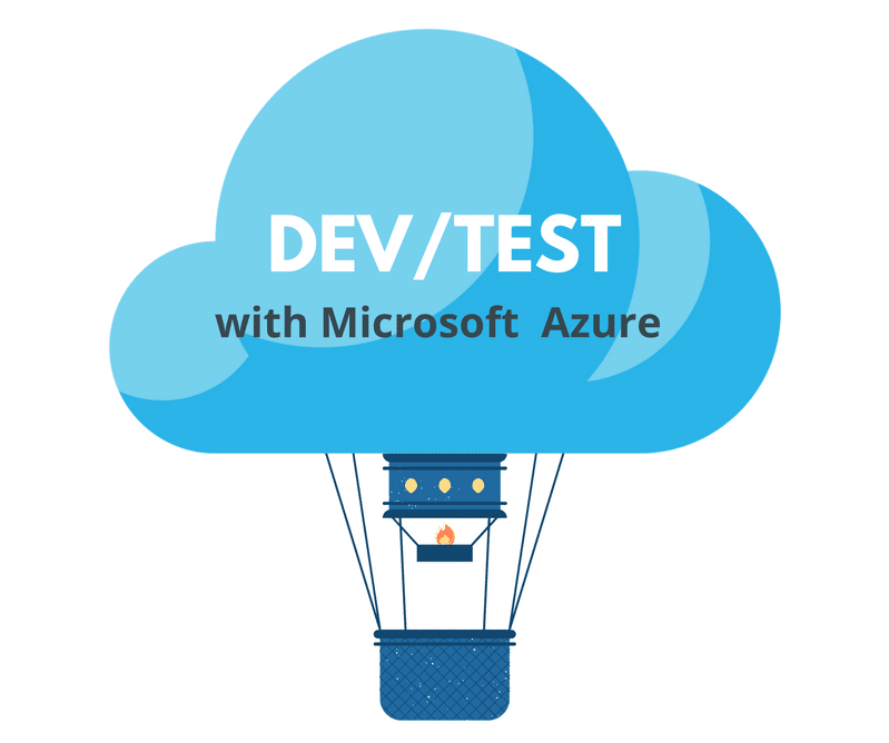 Hot air balloon with caption Dev and Test with Microsoft Azure
